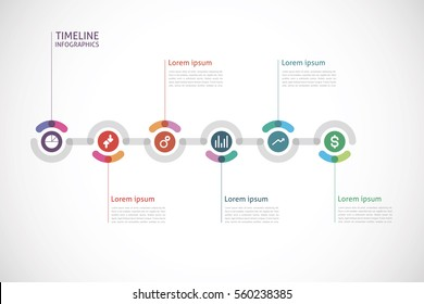 horizontal timeline infographics with a six color circle in the center