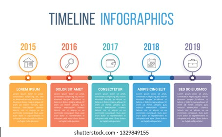 Horizontal timeline infographics template with colorful circles, workflow or process diagram, vector eps10 illustration
