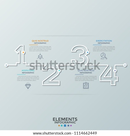horizontal timeline outlines numbers thin line stock vector royalty