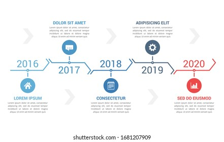 Horizontal timeline template with five arrows, infographic template for web, business, presentations, workflow or process diagram, vector eps10 illustration