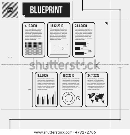Horizontal Timeline Template Infographic Elements Draft Stock Vector