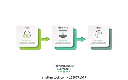 Horizontal timeline with three paper white rectangles or cards connected by gradient colored arrows. Infographic design layout. Vector illustration for 3-stepped goal achievement process visualization
