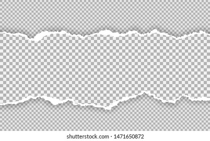 Horizontal torn paper edge. Ripped squared horizontal paper strips. Vector illustration.