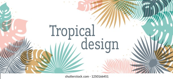 Horizontal Tropical header in pastel colors. Summer tropical design with exotic palm leaves. Monstera, palm, banana leaves. Exotic botanical design. Summer jungle web banner. Vector illustration.
