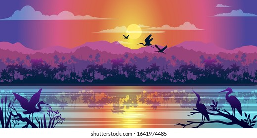 Horizontal tropical landscape with jungle, river, mangrove reflection, sunrise and birds outlines. Rainforest banner with mountains, hills and palm trees silhouette. For landing pages, advertisements