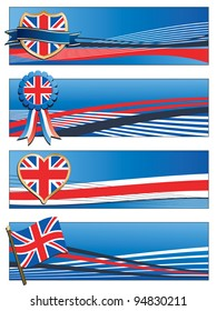 horizontal united kingdom banners with motifs isolated on white