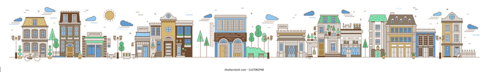 Horizontal urban landscape with city or town street or neighborhood. Cityscape with residential houses, stores and coffeeshops on white background. Colorful vector illustration in line art style.