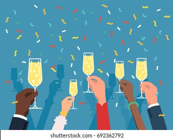 Horizontal vector background on party time with multiple raised hands holding champagne glasses, celebrating. Corporate celebration event background. Ideal for web banners and special event flyers