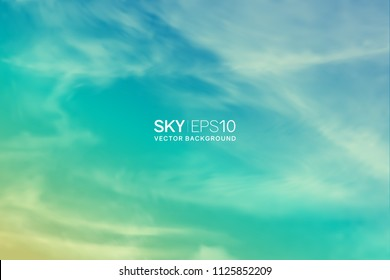 Horizontal vector background with realistic turquoise-yellow sky and spindrift clouds. The image can be used to design a banner, flyer and postcard