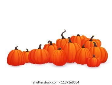 Horizontal vector banner, poster, card, leaflet, border or frame design. Pile of orange pumpkins isolated on white background. Autumn harvest, market, web site, thanksgiving, halloween template.