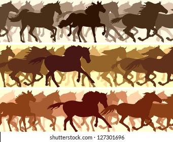 Horizontal vector banner: silhouette herd of horses.
