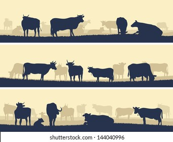 Horizontal vector banner: silhouettes of grazing animals (cows and bulls).