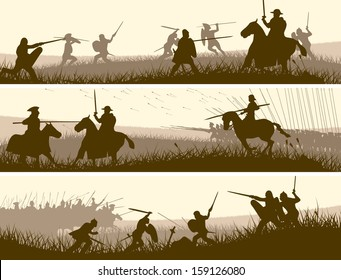 Horizontal vector banners of battle fighting swordsmen, spearmen and cavalry in the battle field.