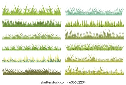 Horizontal vector cartoon green grass with texture on white background