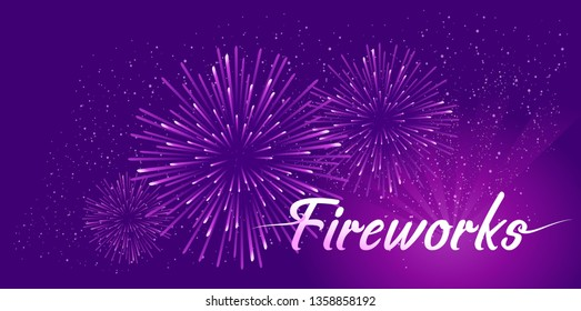Horizontal vector illustration of abstract banner fireworks in the night sky, a holiday festival