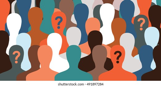 horizontal vector illustration for big number of people with loading bar on their faces as a concept for identification or waiting process for website banner background
