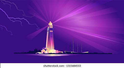 horizontal vector illustration, conceptual banner, night lighthouse beam points to dangerous areas, for safe navigation of passing ships bad weather, storm, lightning