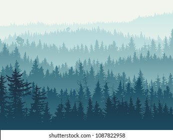 Horizontal vector illustration of coniferous forest (spruce, pine) with hills range in blue tones.