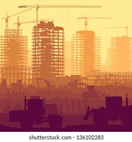 Horizontal vector illustration of construction site with cranes and skyscraper under construction with tractors, bulldozers, excavators and grader.