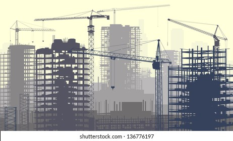 Horizontal vector illustration of construction site with cranes and skyscraper under construction in yellow-grey.