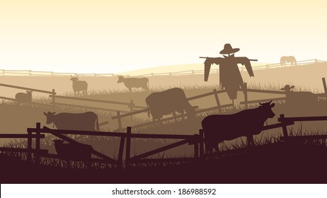 Horizontal vector illustration of grazing animals (cow, horse, sheep) in the farmers fields with fence.