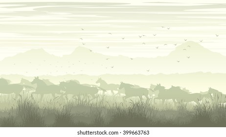Horizontal vector illustration of meadow field with mountains and prancing through grass herd of horses.