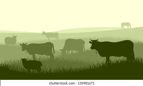 Horizontal vector illustration silhouettes of grazing animals (cow, horse, sheep) in the meadows.