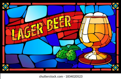 Horizontal vector illustration stained glass window lager beer and hops.
