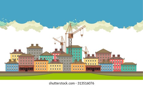 Horizontal vector illustration of urban landscape in the background of the sky