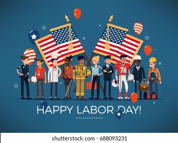 Horizontal vector 'Labor Day' celebration banner with american flags, balloons and large group of diverse workers of various professions and specialists