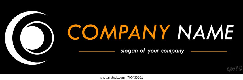 Horizontal vector logo template, logotype for a company or a brand isolated over black background, logo outline, emblem element