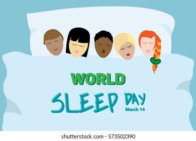 Horizontal vector poster for World Sleep Day.