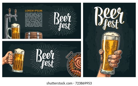 Horizontal and vertical poster to festival. Beer fest lettering with ray. Wood barrel, hands holding glass, tap, wood barrel, barbecue. Vintage vector engraving illustration on dark background.
