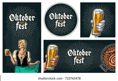 Horizontal, vertical, Poster to oktoberfest festival. Beer tap, glass, wood barrel, barbecue and girl holding mug. Vintage vector engraving illustration for invitation to party on dark background.