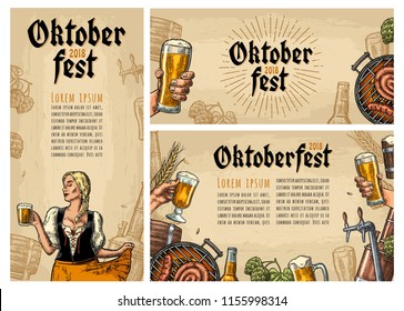 Horizontal, vertical posters to oktoberfest festival. Beer tap, glass, wood barrel, barbecue, glass, bottle, hop branch, barrel and girl holding mug. Vintage vector color engraving illustration