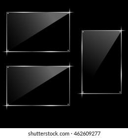 Horizontal and vertical rectangular glass black frame. Hi-tech modern design. Vector illustration.