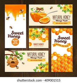 horizontal vertical and square banners presenting sweet natural honey with bees hive and wax cells vector illustration