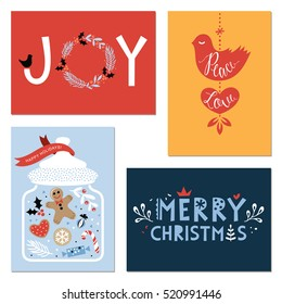 Horizontal and vertical winter holidays greeting cards Vector illustration.