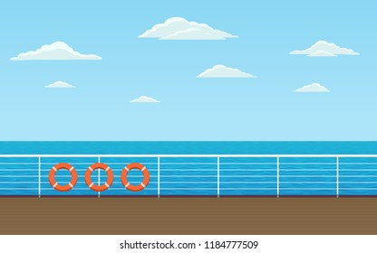 Horizontal view of ocean from ship promenade deck sailing in sea with blue sky background in flat icon design