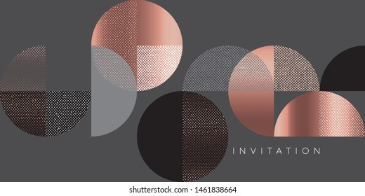 Horizontal vintage 70s geometric header template. Lux and business vibes laconic festive vector design element for card, header, invitation, poster, social media, post publication.