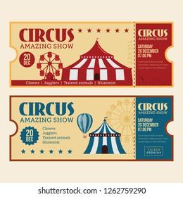 Horizontal vintage circus ticket