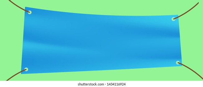horizontal vinyl banner with 4 holes and ropes hang on background for advertising concept. blue screen mock-up textile, awning, PVC, vinyl banner. white mockup textile fabric and shadow empty