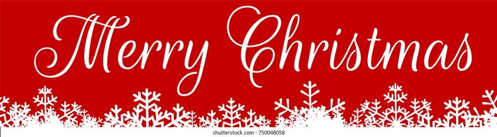 Horizontal web banner for Christmas with snowflakes border