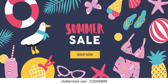 Horizontal web banner template decorated with summer tropical vacation attributes on black background. Colorful seasonal vector illustration in flat cartoon style for sale promotion, advertisement.