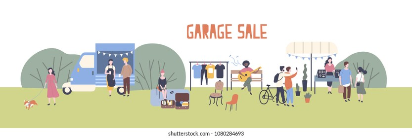 Horizontal web banner template for garage sale or outdoor festival with food van, men and women buying and selling goods at park. Flat cartoon colorful vector illustration for event advertisement