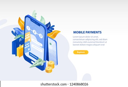 Horizontal web banner template with smartphone, flying paper plane, coins, shopping bags and place for text. Mobile payment, electronic money transfer technology. Isometric vector illustration.