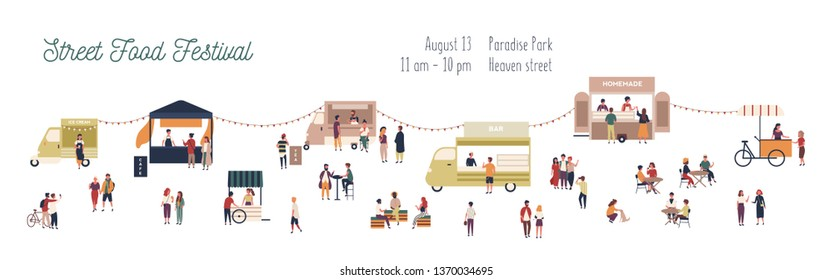 Horizontal web banner template for summer street food festival with people walking among vans and kiosks, buying homemade meals, eating and drinking. Vector illustration for event announcement.