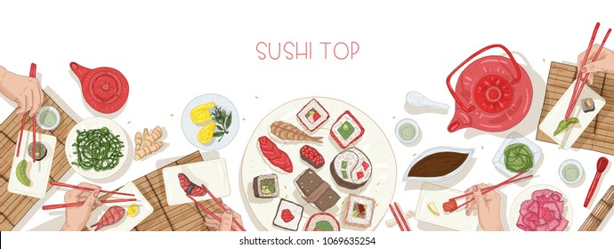 Horizontal web banner template with table full of Japanese food and hands holding sushi, sashimi and rolls with chopsticks. Lunch or dinner at Asian restaurant. Colorful realistic vector illustration.