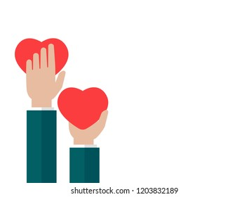 Horizontal white background with hands holding red hearts. charity, philanthropy, support, giving, help, love concept. Flat vector illustration.