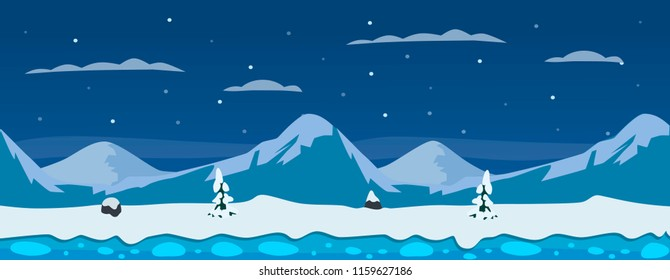 Horizontal winter background with mountains, snow, ice and pine trees.